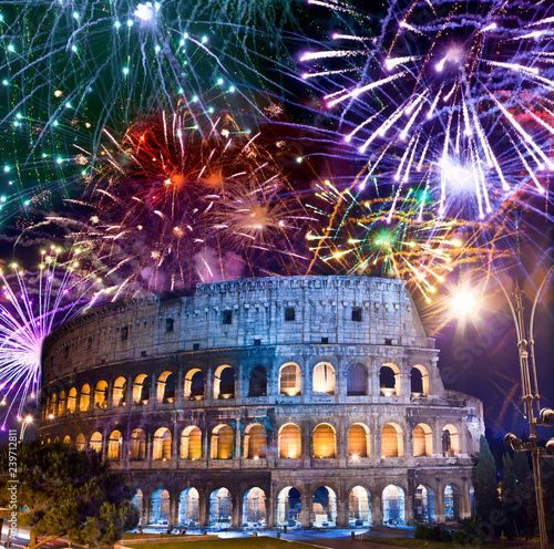 obraz PCV Celebratory fireworks over Collosseo. Italy. Rome