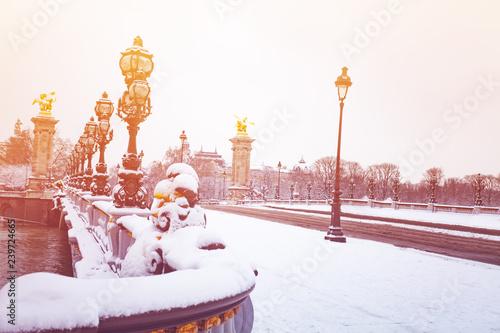 Pont Alexandre III under snow, Paris, France