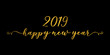 .2019 Happy New Year gold lettering on black background.