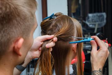 hair cut in the hairdresser's salon.