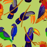 Tropical birds seamless pattern. Beautiful cartoon pattern with colorful parrots and toucans pattern for fabric design. Beautiful seamless hand drawn jungle pattern background