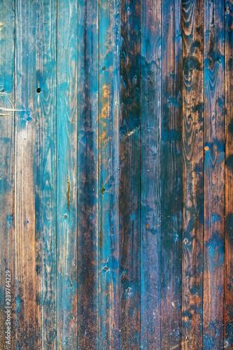 Struktur alterr grunge blau gestrichener bemalter brauner verwitterter Holz Bretterwand mit rustikaler Holzmaserung - 239764229
