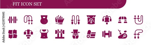 Vector icons pack of 18 filled fit icons