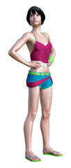 3D Rendering Teenager Girl on White © photosvac