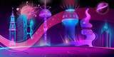 Vector concept background with futuristic city, alien civilization or colony in space. Fantasy cityscape in neon colors, panorama with fancy buildings, purple night sky with planets and stars © vectorpocket