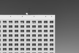 Geometric background with lots of window rows. Modern building texture. Office construction. Apartment building close-up. Many windows on huge wall. European classic high-rise building with copy space - 239805432