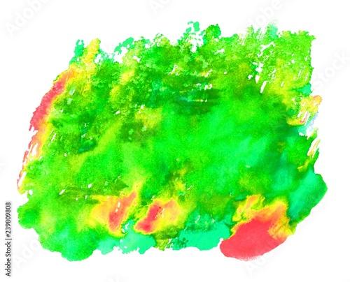 Leinwandbild Motiv Hintergrund Wasserfarbe Fleck in grün gelb rot