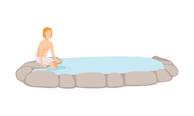 Man enjoying outdoor thermal spring, guy relaxing in spa vector Illustration on a white background © topvectors