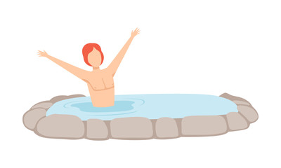 Young man enjoying hot water in outdoor thermal spring, spa procedure vector Illustration on a white background © topvectors