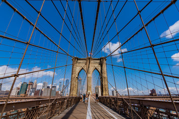 View of historic Brooklyn Bridge in New York City
