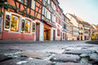 Low perspective of cobblestone street in historic city of Strasbourg France