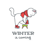 Winter is coming. Illustration of cute white cat putting on warm winter boots. Isolated on white background. Vector 8 EPS.