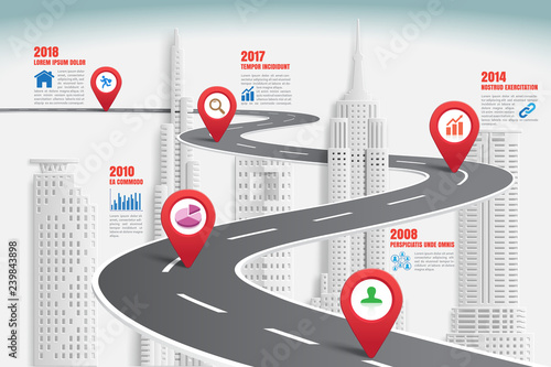 Business road map timeline infographic city designed for abstract background template milestone element modern diagram process technology digital marketing data presentation chart Vector illustration - 239843898