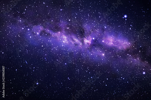 Vector illustration with night starry sky and Milky Way. Space dark background with fragment of our galaxy