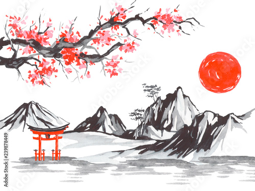 Japan traditional sumi-e painting. Fuji mountain, sakura, sunset. Japan sun. Indian ink illustration. Japanese picture. © Cepheia