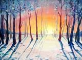 Oil paintings landscape, forest, winter. Fine art.
