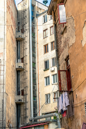 the close-up on building in Bucharest, Romania - 239885238