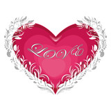 love Invitation card Valentines day heart on white background with text love Vector illustration