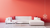 Living Coral Interior / Color of The Year for festive and valentine / 3D render interior - 239909638