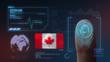 Finger Print Biometric Scanning Identification System. Canada Nationality