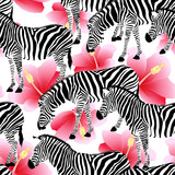 Zebra on pink hibiscus background, seamless pattern. Black and white strip, wild animal texture. design trendy fabric,  vector illustration. © wowow