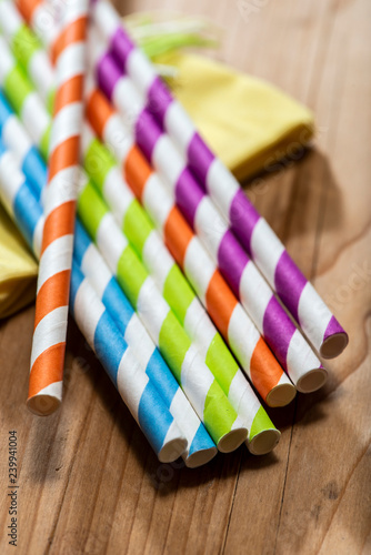 Colored drinking straws