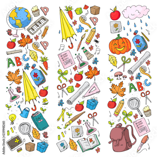 Vector seamless pattern with school and education icons. - 239948260