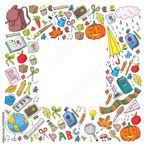 Vector seamless pattern with school and education icons. - 239948296