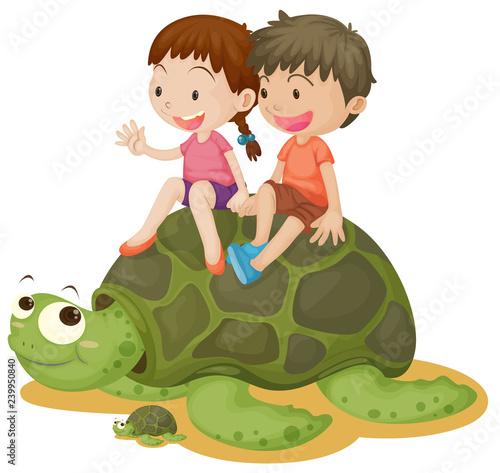 Happy children riding turtle