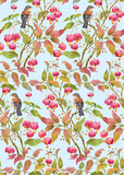 Bird on a branch with leaves and barries . Seamless background pattern version 4
