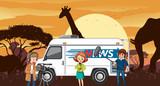 Outside broadcasting in savanna desert - 239953225