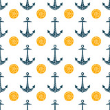Seamless ocean background with anchor and shells. Summer vector design. For pattern fills, wallpaper, print for clothers, For pattern fills, wallpaper, print for clothers, wrapping paper