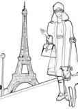 Fashion woman with eiffel tower