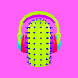 3d render hipster cactus DJ Contemporary art collage.Music party concept - 239971074