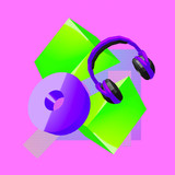 3d render Headphones and Geometry Contemporary art minimal collage. - 239971091