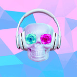 Contemporary art minimal collage. Fashion Skull in headphones. Club Party style - 239971096