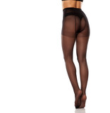 pretty female long legs and black high waist nylon stockings on white background - 239972473