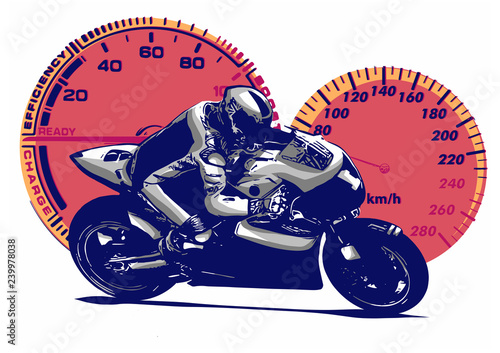 Sport superbike motorcycle with struments