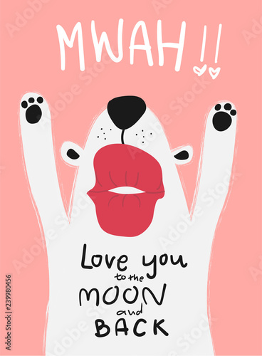 love card white dog with big kiss mwah