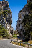 Road through Kotsifou Canyon in mountains of Crete. Greece