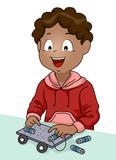 Kid Boy Stem Electric Car Illustration