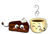 Mascot Sachetorte Cake And Coffee Illustration