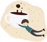 Man Hug Coffee Illustration