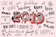 Leinwanddruck Bild - number 2019 and new years resolutions
