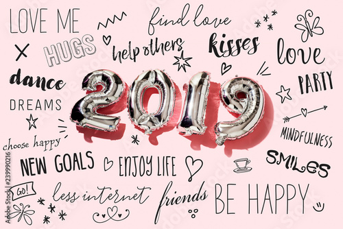 Leinwanddruck Bild number 2019 and new years resolutions