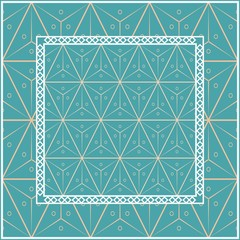 Design with abstract hand drawn geometric pattern with decorative element. Vector illustration. Template design for card, shawl, bandanna, fashion print. Blue.