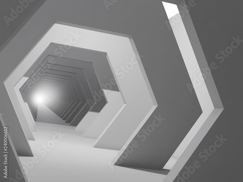 Abstract digital interior background, 3d corridor