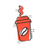 Coffee, tea cup icon in comic style. Coffee mug vector cartoon illustration pictogram. Drink business concept splash effect.