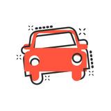 Car icon in comic style. Automobile car vector cartoon illustration pictogram. Auto business concept splash effect.