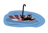 A cat is floating on an umbrella. The cat needs help and wants to be adopted.